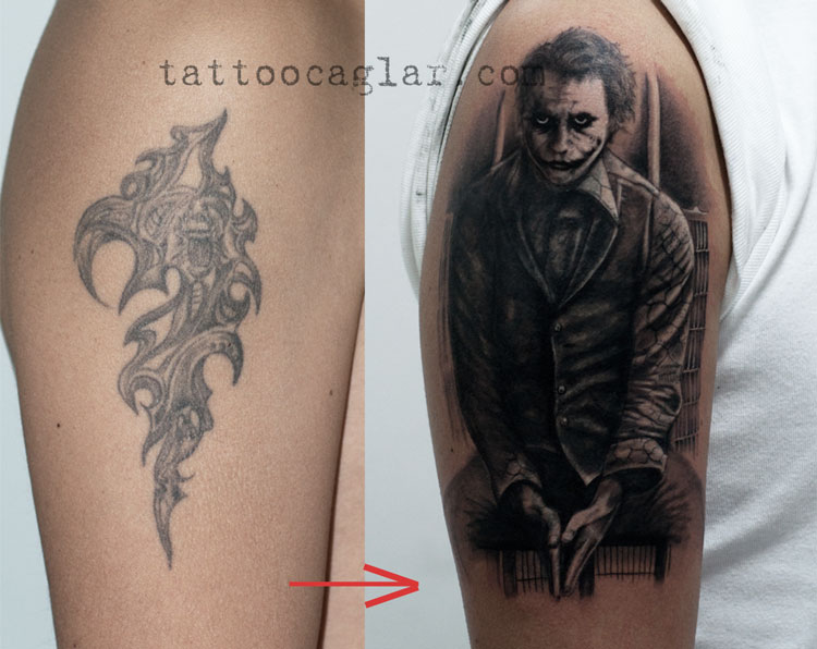 cover up joker tattoo art by caglar