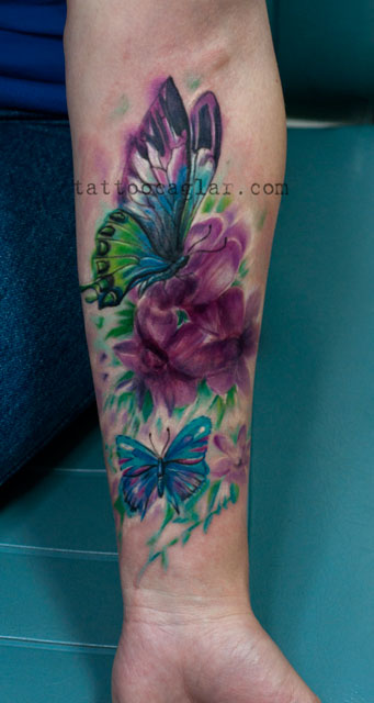 watercolor suluboya kelebek  flowers  tattoo