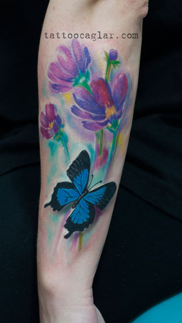 suluboya watercolor kelebek tattoo by caglar tattoozone ankara