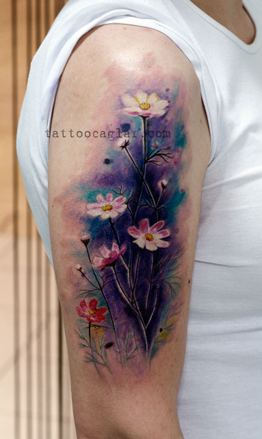 watercolor suluboya papatya dövme tattoozone ankara